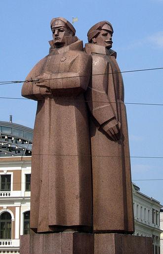 Latvian Riflemen - Soviet era monument for the Latvian Riflemen in Riga, Latvia.