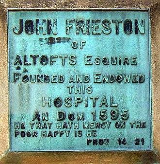 John Freeston - Monument to John Freeston at Frieston's Hospital (originally an Almshouse), Kirkthorpe, Wakefield, West Yorkshire
