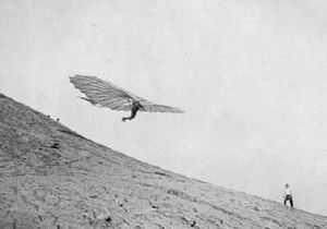 History of hang gliding - Engineer Otto Lilienthal, one of the forefathers of aviation. Germany, 1895.
