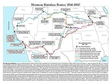 Mormon Battalion Routes 1846-47 HENSON