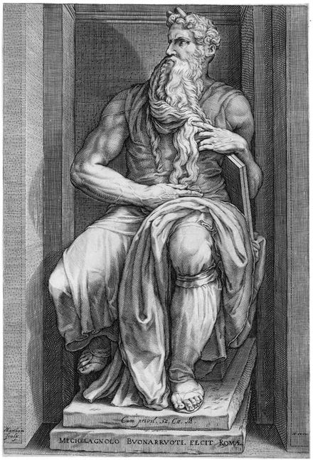 "Reproductive engraving by Jacob Matham, in this case of a sculpture, ""Moses"", by Michelangelo, 1593 Moses (Matham).jpg"