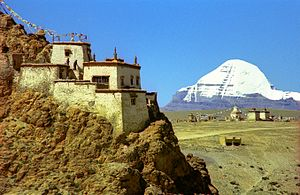 Roof pendant - View of Mount Kailash, Tibet (in the right distance), showing both the metasedimentary roof pendant and the underlying granite rock which caused the metamorphosis of the sediments above.