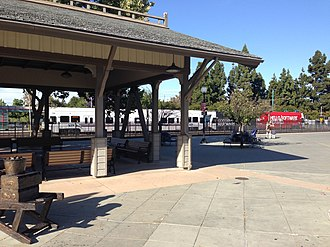 Downtown Mountain View Station - Image: Mountain View CA train station and light rail