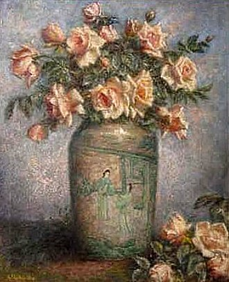 Adolfo Müller-Ury - Still Life With Chinese Vase And Pink Roses