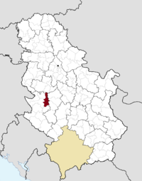 Location of the municipality of Požega within Serbia