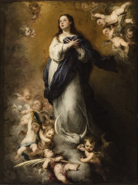 The Blessed Virgin Mary is highly regarded in the Catholic Church, proclaiming her as Mother of God, free from original sin and an intercessor. Murillo-inmaculada del coro-sevilla-mba.JPG