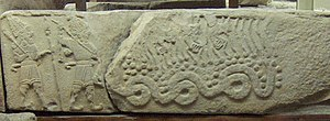 Tarḫunz - Late Luwian relief from Arslantepe with the weather god and a companion battling a serpent monster