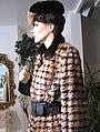 Musquash fur coat, houndstooth pattern printed.jpg