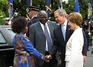 History of Kenya - Mwai Kibaki and Mrs. Kibaki with US President George W. Bush and Mrs. Laura Bush at the White House during a state visit in 2003.