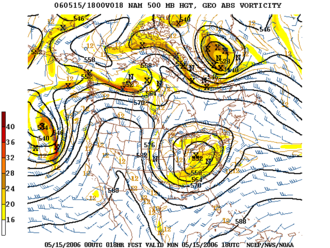 Geopotential height - Geopotential height analysis on the North American Mesoscale Model (NAM) at 500 hPa.