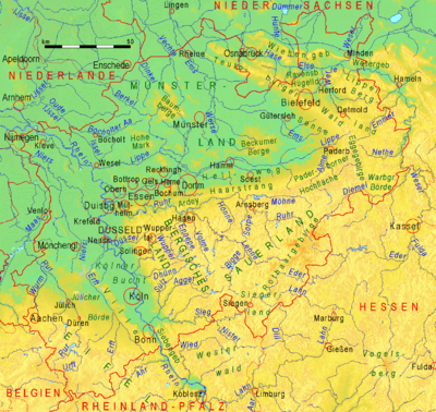 Topographische Karte Nrw.Geographie Nordrhein Westfalens Wikipedia
