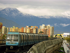 Rubber-tyred metro - NS93 (based on MP 89 (Paris Métro)) in 5-Line of Santiago Metro combines rubber tire traction with elevated right-of-way