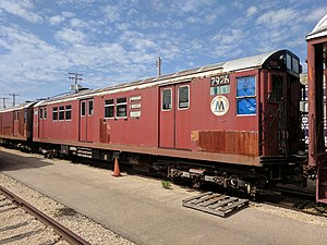 R28 (New York City Subway car) - R28s 7926 and 7927 on display at the Illinois Railway Museum