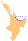 Location map of Bay of Plenty, New Zealand