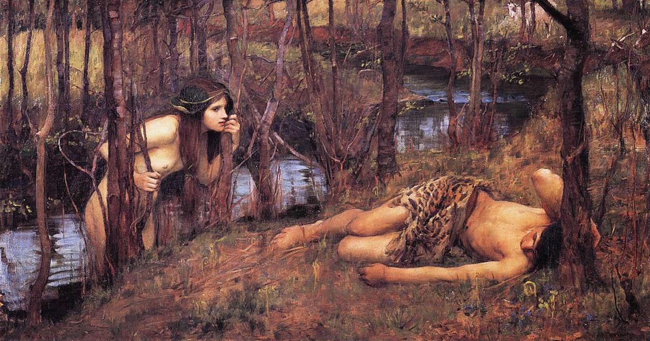 یکی از نیادها اثر جان ویلیام واترهاوس، که به هولاس در حال خواب نزدیک میشود