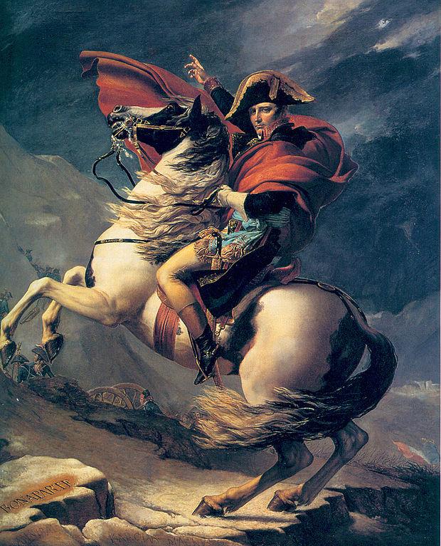 """Jacques-Louis David: """"Napoleón cruzando los Alpes"""" (1801-1805). Versión del Palacio de Versalles."""
