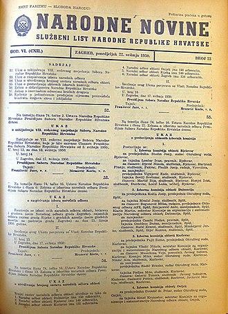 Narodne novine - Narodne novine, May 22, 1950