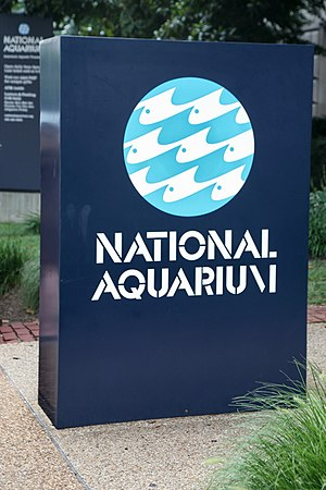 National Aquarium in Washington, D.C. - Entry sign for the National Aquarium in Washington, DC, which was located on the lower level of the Department of Commerce Building