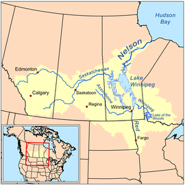 Map of the Nelson River drainage basin