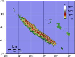 Topographic map of New Caledonia