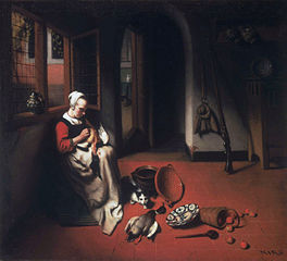Woman Plucking a Duck