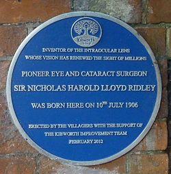 Photo of Nicholas Harold Lloyd Ridley blue plaque