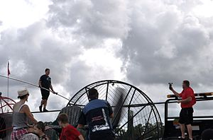 Skywire Live - Wallenda simulates windy conditions using a large fan, June 14, 2013.