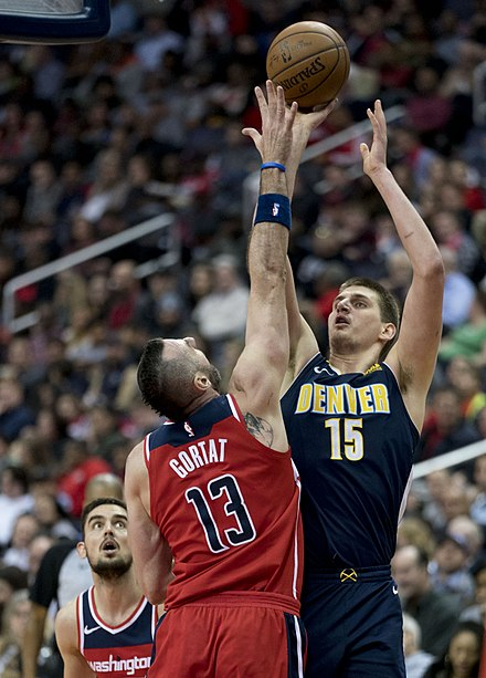 Nikola Jokic, two-time NBA All-Star and 2018-19 All-NBA First team. Serbia is one of the countries with the largest number of NBA players and with the greatest success in FIBA international competitions. Nikola Jokic (40980299891).jpg