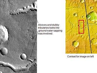 Vallis (planetary geology) - Image: Nirgal Vallis in Coprates