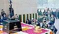 Nirmala Sitharaman, the Chief of Army Staff, General Bipin Rawat, the Chief of the Air Staff, Air Chief Marshal B.S. Dhanoa and the Vice Chief of Naval Staff, Vice Admiral Ajit Kumar P laying wreath at Amar Jawan Jyoti.jpg