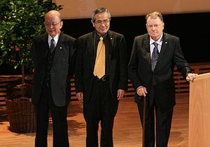 Akira Suzuki (chemist) - From left: Suzuki, Negishi, and Heck (2010)