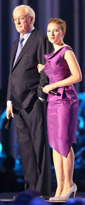 Caine with Scarlett Johansson at the Nobel Peace Prize Concert, December 2008 Nobel Peace Prize Concert 2008 Scarlett Johansson Michael Caine.jpg