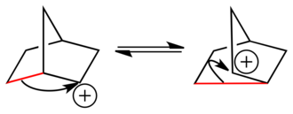 2-Norbornyl cation - Figure 4: In the classical depiction of the 2-norbornyl cation, there is a rapid equilibrium between two asymmetric enantiomeric structures.