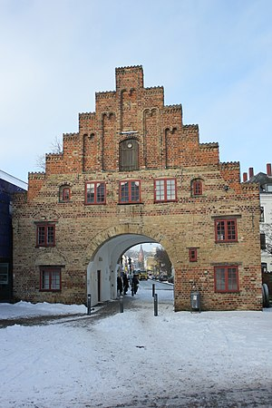 Flensburg - The Nordertor, a town gate, in winter