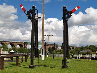 River Weaver - Signals between the chambers at Hunt's Lock, Northwich railway viaducts behind