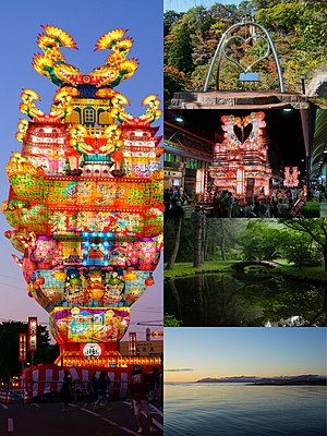 Left:Chikazue lantern float on Noshiro Tanabata Festiwal on every August, Right:Kimiichi Heartfull Bell, Another float at Noshiro Tanabata Festival, A pond in Window of Matsubara, A sunset view of Mount Range of Shirakami and Yoneshiro River.(above to bottom)