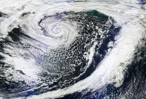 November 2014 North American cold wave - The 2014 Bering Sea bomb cyclone at peak intensity on November 8, over the Bering Sea. This system triggered the cold wave across North America.