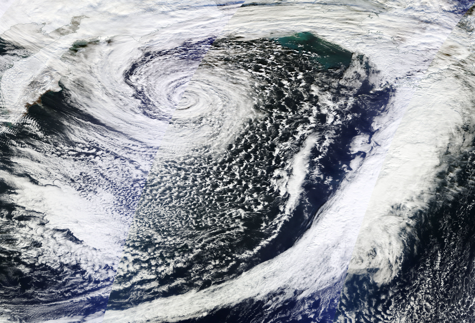 November 2014 Bering Sea bomb cyclone peak, on November 8