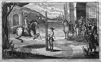 Longeing - Historic copperplate engraving of a horse and rider being worked on a longe line