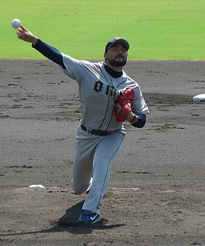 Chan Ho Park - Park pitching for the Buffaloes in 2011