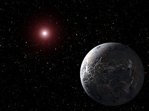 Astrobiology - Artist's impression of the extrasolar planet OGLE-2005-BLG-390Lb orbiting its star 20,000 light-years from Earth; this planet was discovered with gravitational microlensing.