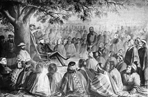 Occupation of Araucanía -  Cornelio Saavedra Rodríguez in a meeting with some of the main lonkos of Araucania in 1869
