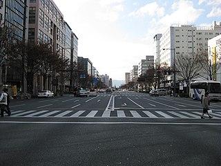 Oike Street Street in Kyoto city, Japan