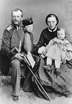 Olga Feodorovna of Baden -  Grand Duke Michael Nikolaevich of Russia and his wife, Grand Duchess Olga Feodorovna, with their two eldest children Nicholas and Anastasia, 1862