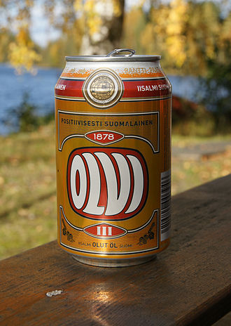 Beer in Finland - Can of Finnish Olvi beer.