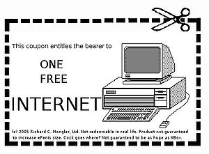 "English: A ""one free internet"" coupon. To be given to winrars."