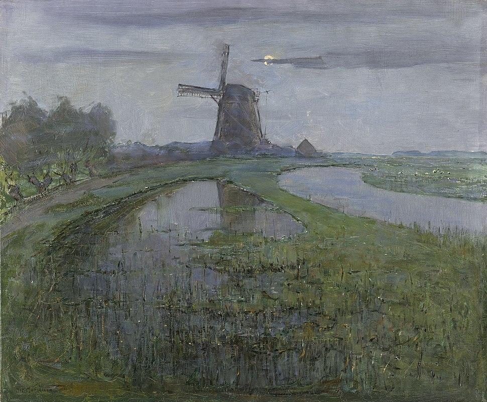 Oostzijdse molen aan het Gein bij maanlicht