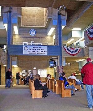 Orange County Government Center - DMV office in interior atrium.