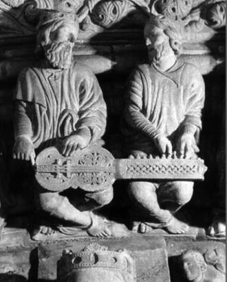 Hurdy-gurdy - Ancient kings playing an organistrum, Santiago de Compostela