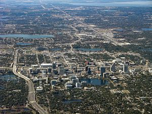 Lake Apopka - Aerial of downtown Orlando, Florida. Lake Apopka is seen in the upper-right of the photo.